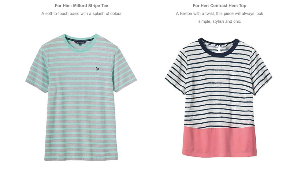For Him: Milford Stripe Tee - For Her: Contrast Hem Top