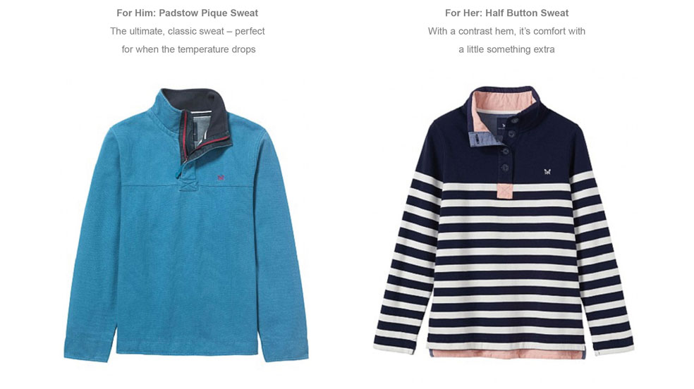 For Him: Padstow Pique Sweat - For Her: Half Button Sweat