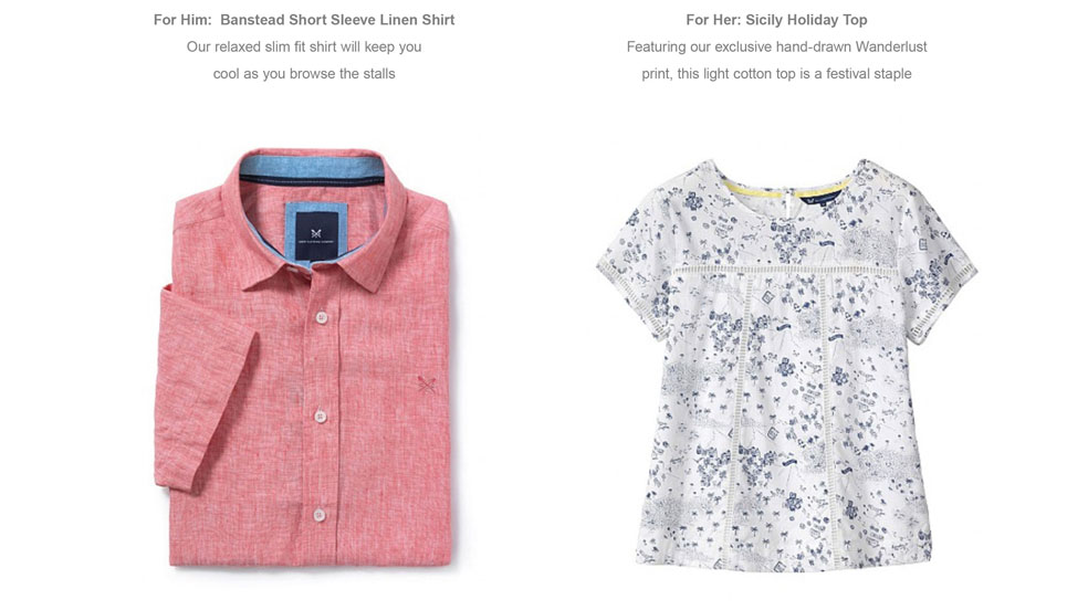 For Him:  Banstead Short Sleeve Linen Shirt - For Her: Sicily Holiday Top