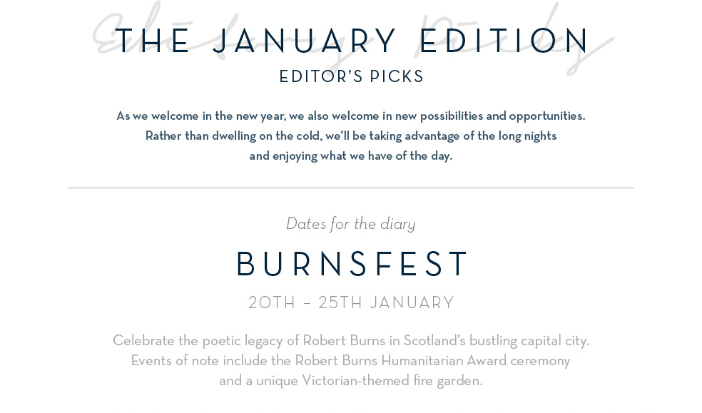 The January Edition - Editor's Picks