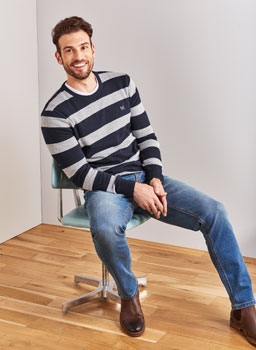 Oxford Stripe Jumper in Mid Grey Marl/Navy