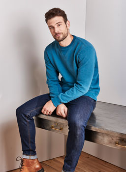 Pentire Crew Sweat in Ink Blue Marl