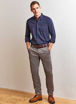 Grassholme Slim Fit Chino in Charcoal