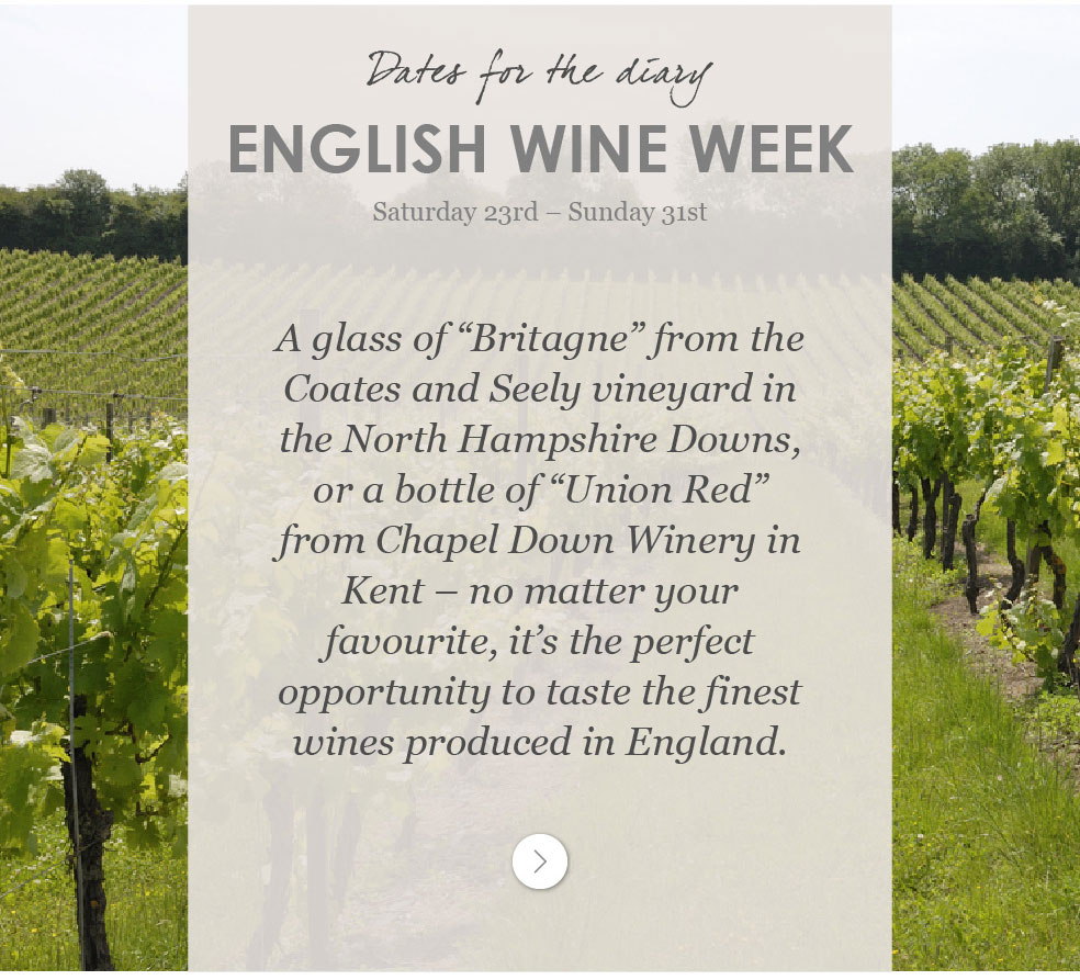 English Wine Week Saturday 23rd - Sunday 31st May