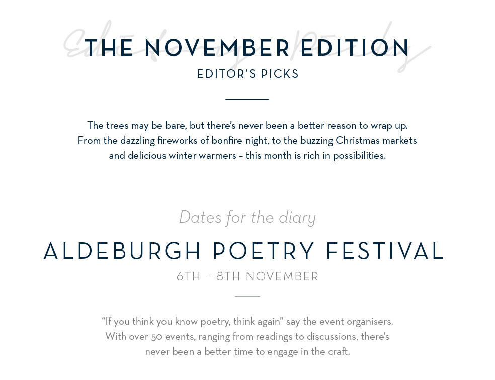 Aldeburgh Poetry Festival 6th - 8th November
