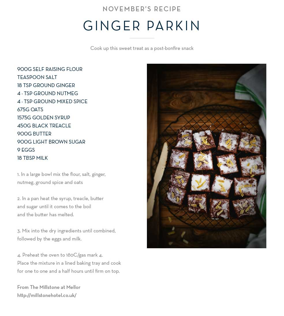 November's Recipe Ginger Parkin