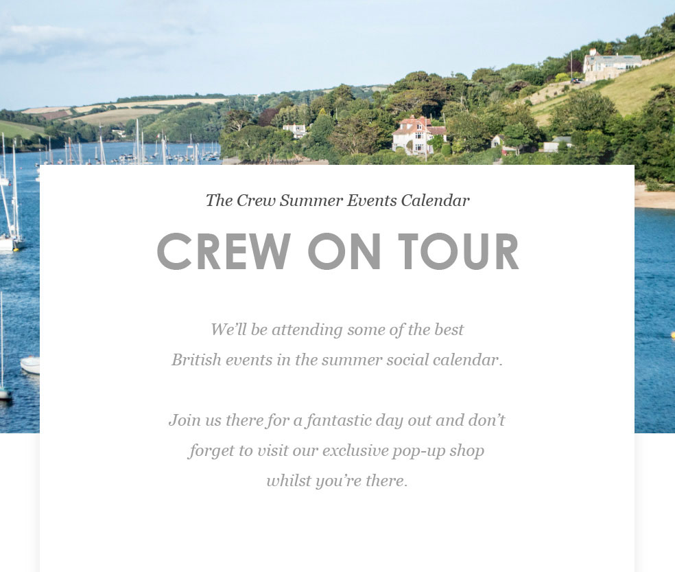 The Crew Summer Events Calendar - Crew On Tour
