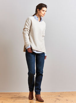 Textured Stitch Jumper in Latte Marl