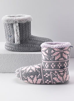Snowflake Slipper Boot grey pink