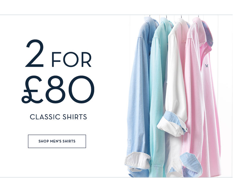 MEN'S 2 FOR £80 SELECTED SHIRTS
