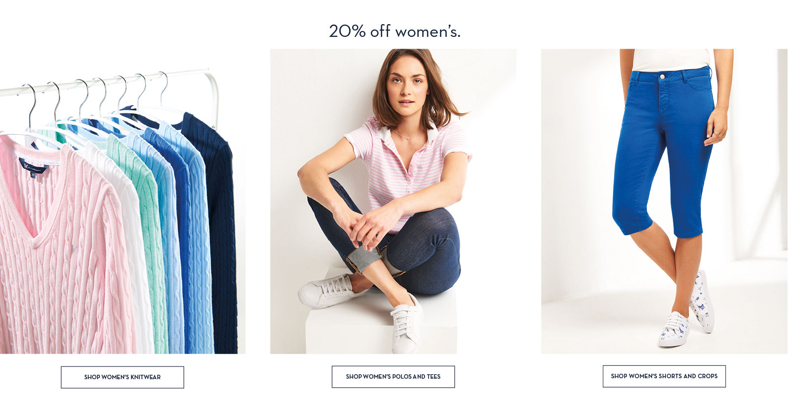 20% off women's knitwear polos tees shorts and crops
