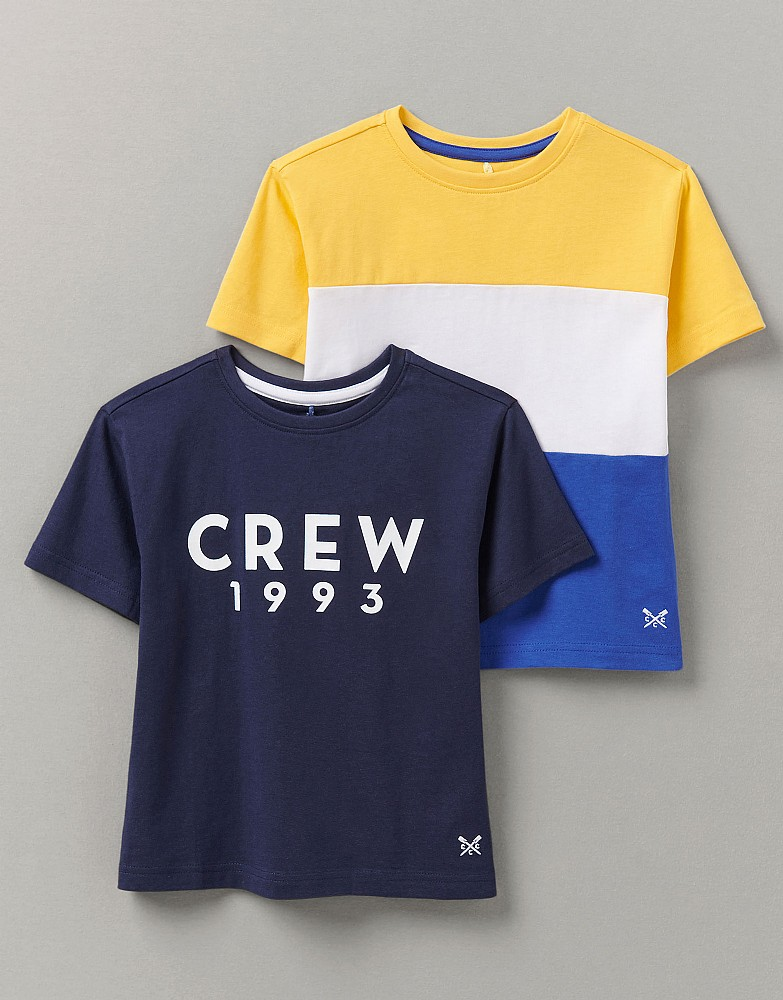 2 Pack Graphic And Colour Block T-Shirt