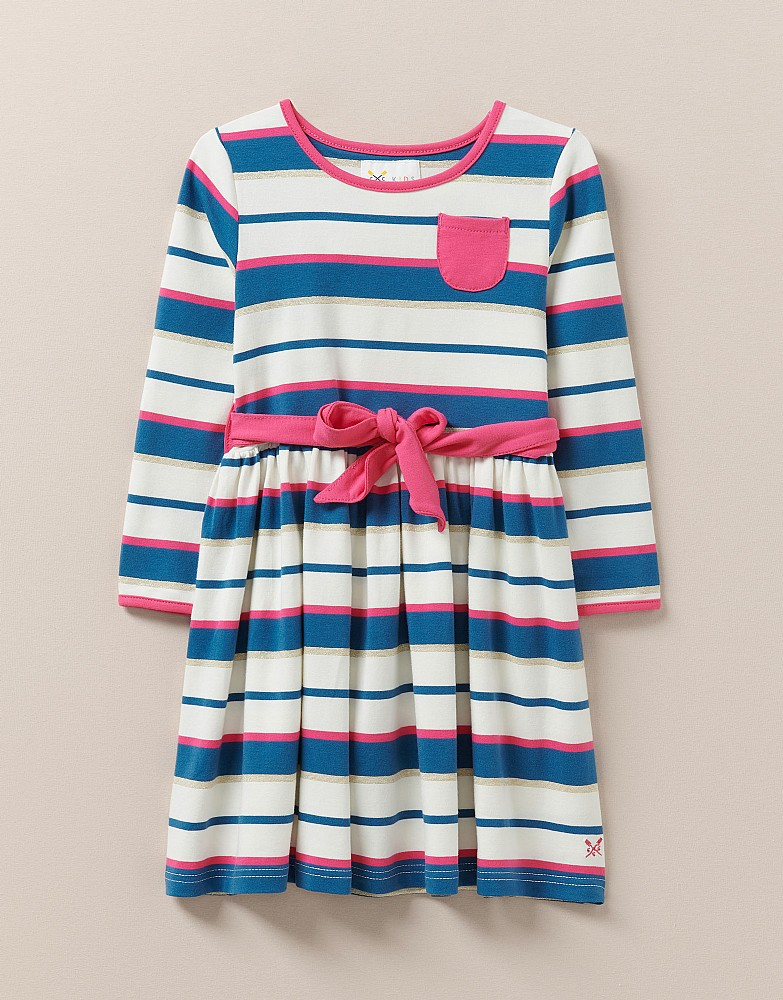 Striped Jersey Dress With Sash
