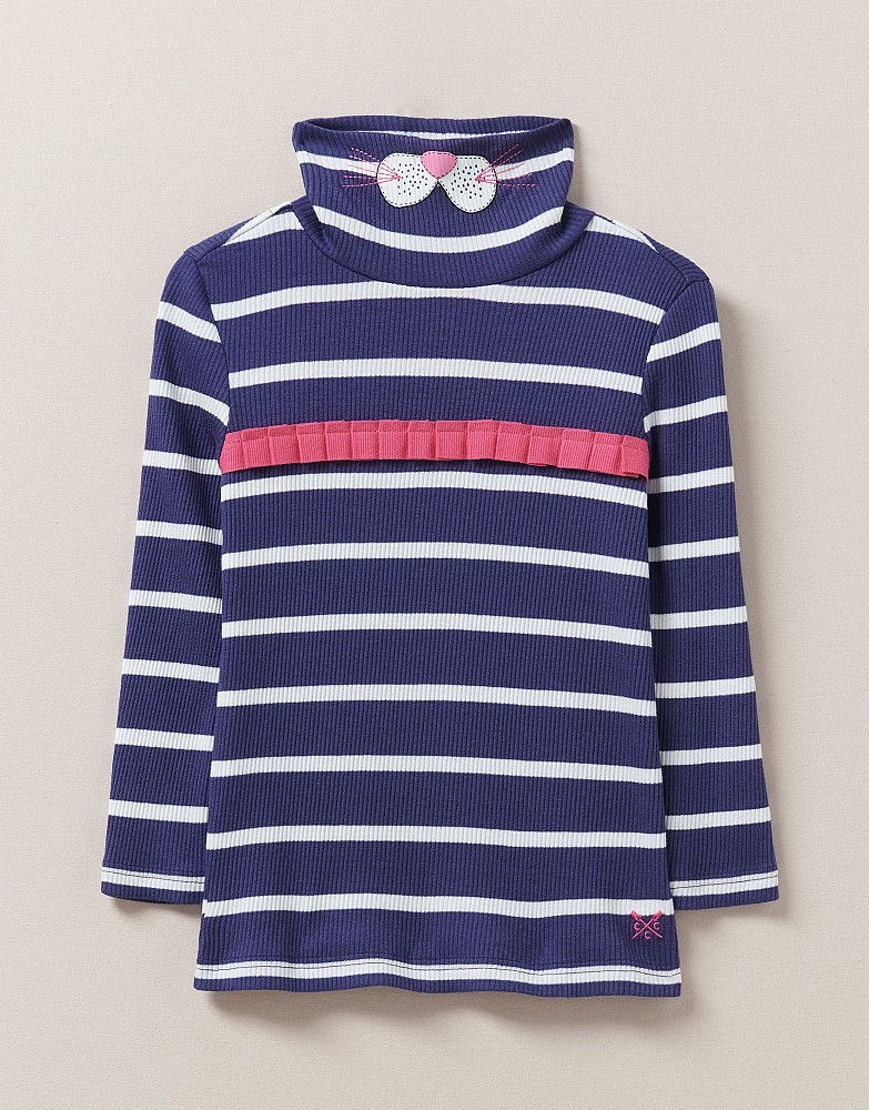 Ribbed Ruffle Roll Neck Cat Face Top