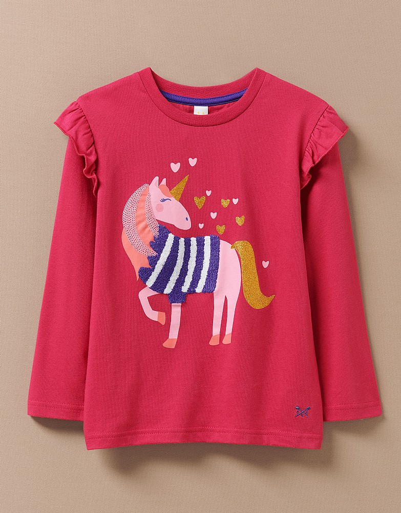 Long Sleeve Frill Unicorn Top