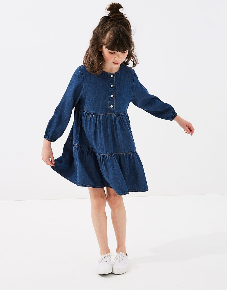 Long Sleeve Chambray Tiered Dress