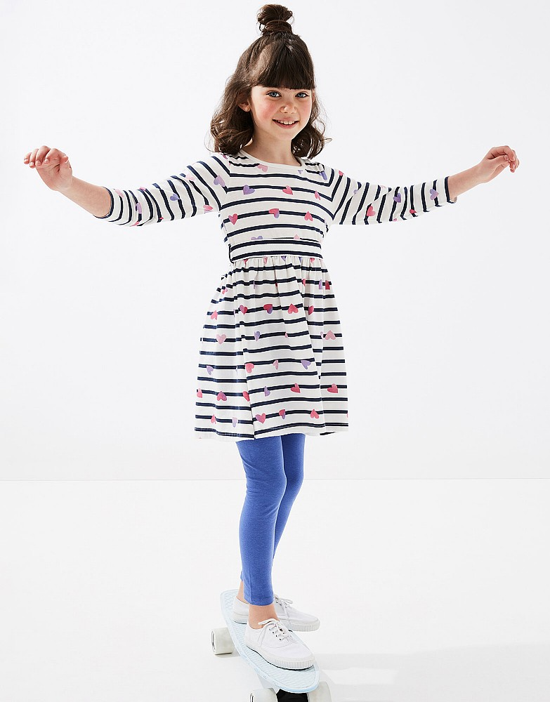 Long Sleeve Tie Waist Jersey Heart Stripe Dress