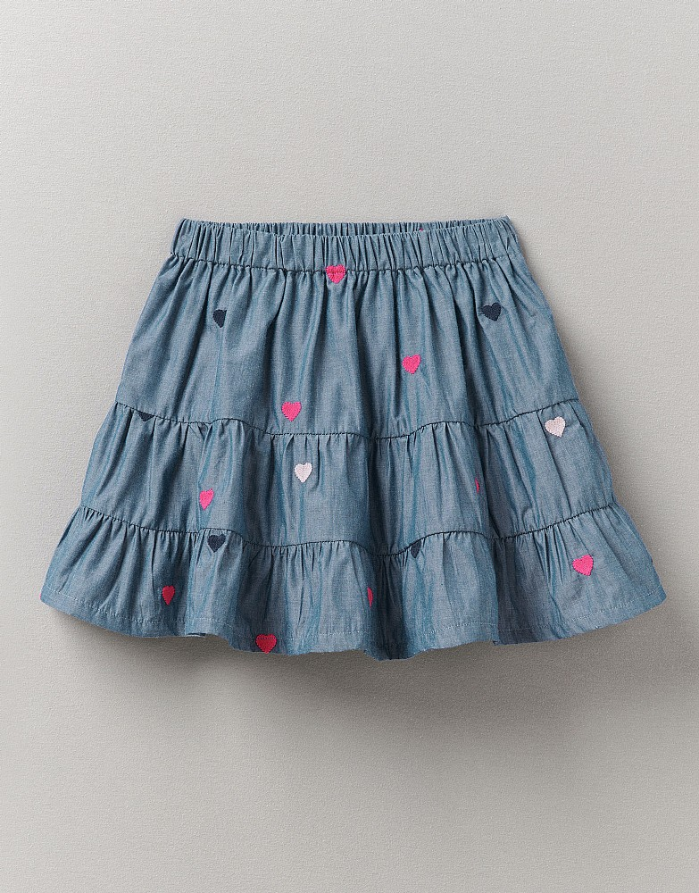 Embroidered Hearts Chambray Pull On Skirt