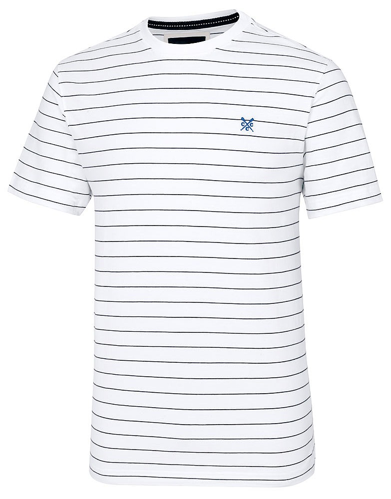 f75cfd79583b Men s Crew Classic Tee in Optic White Stripe from Crew Clothing