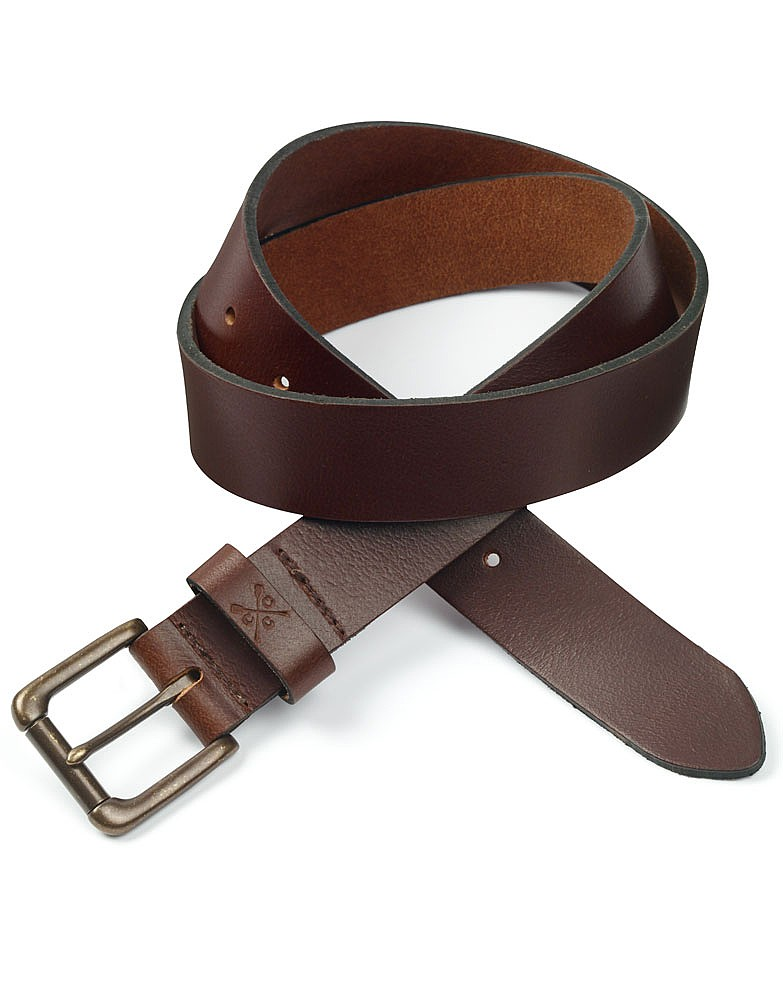 s classic leather belt in chocolate from crew clothing