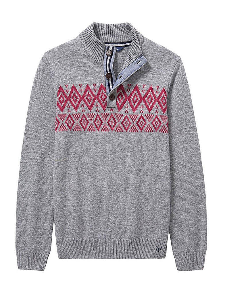 Men's Fairisle Half Button Knit in Grey Marl from Crew Clothing ...