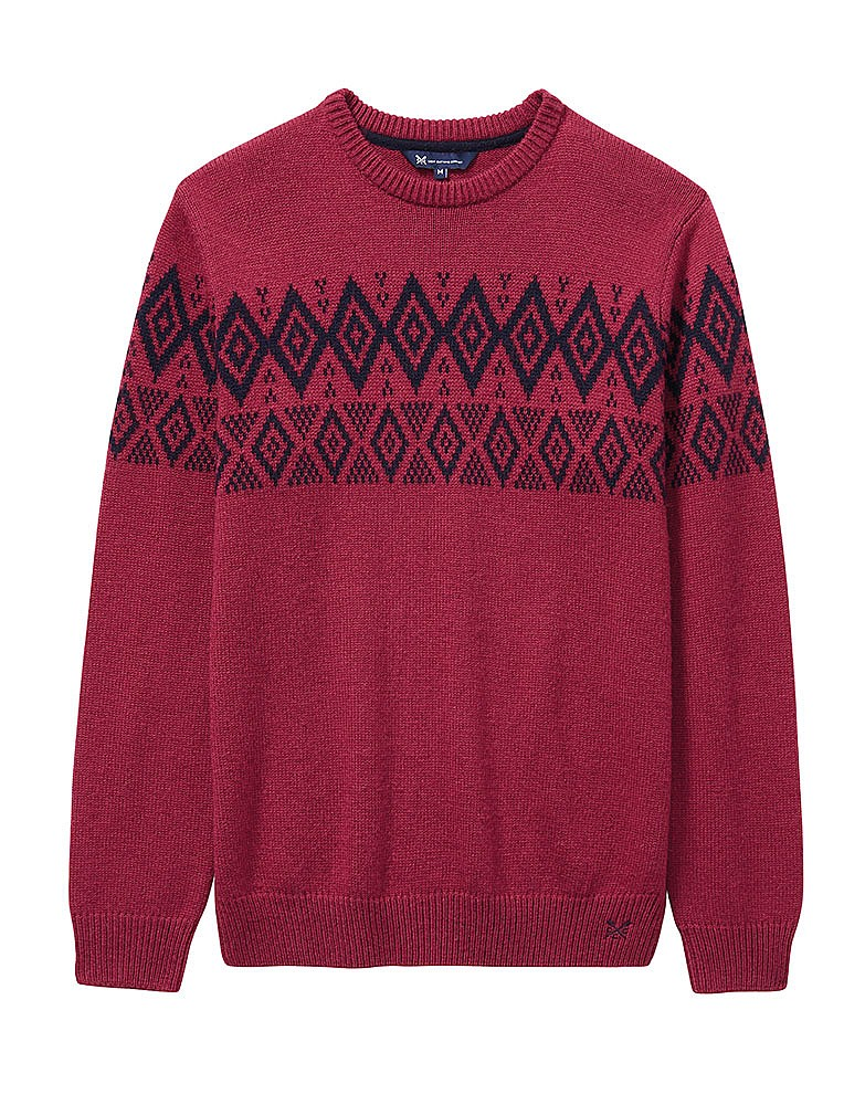 Men's Fairisle Crew Neck Knit in Washed Cherry from Crew Clothing ...