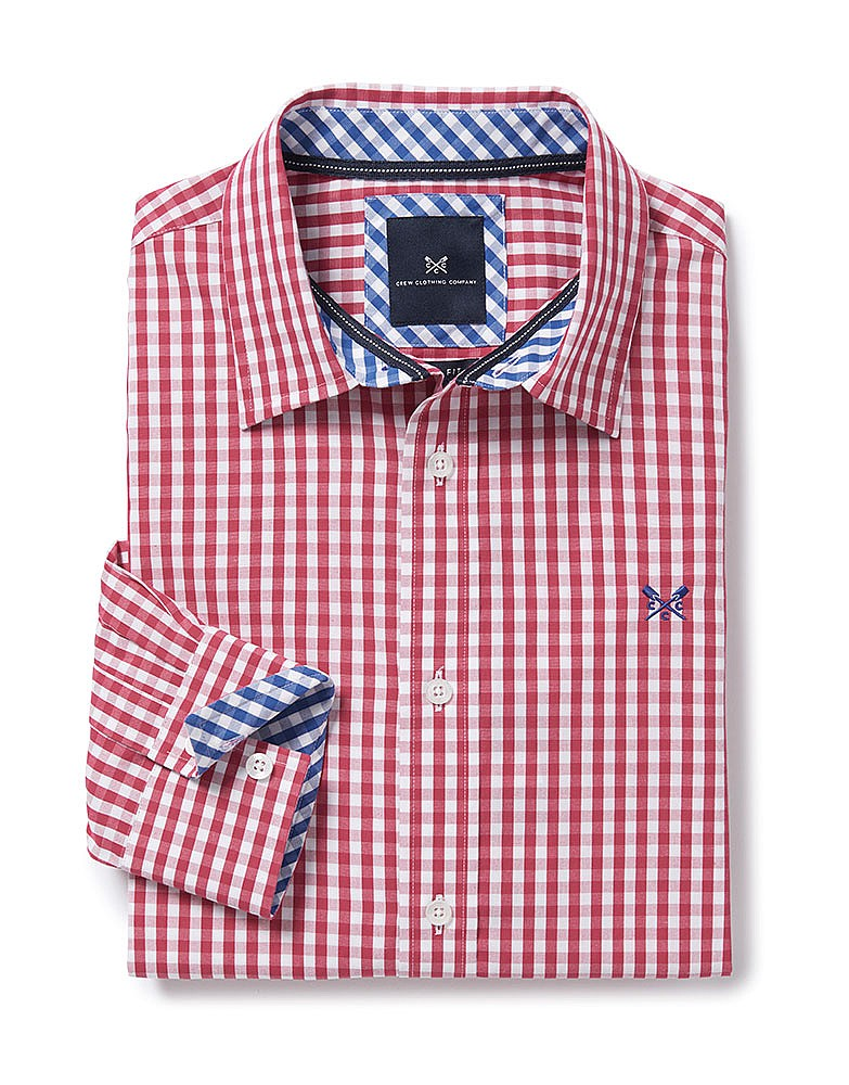 9d33907fa903 Men s Crew Classic Fit Gingham Shirt in Claret Red from Crew ...