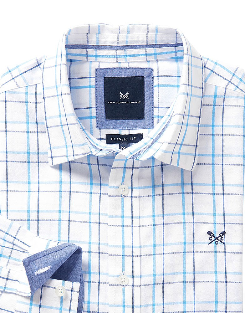8b7167f4254 Men s Millom Classic Fit Check Shirt in White Sky Blue from Crew ...