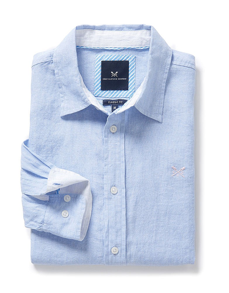 57c28bf3f54 Men s Linen Classic Fit Shirt in Serene Blue from Crew Clothing Company