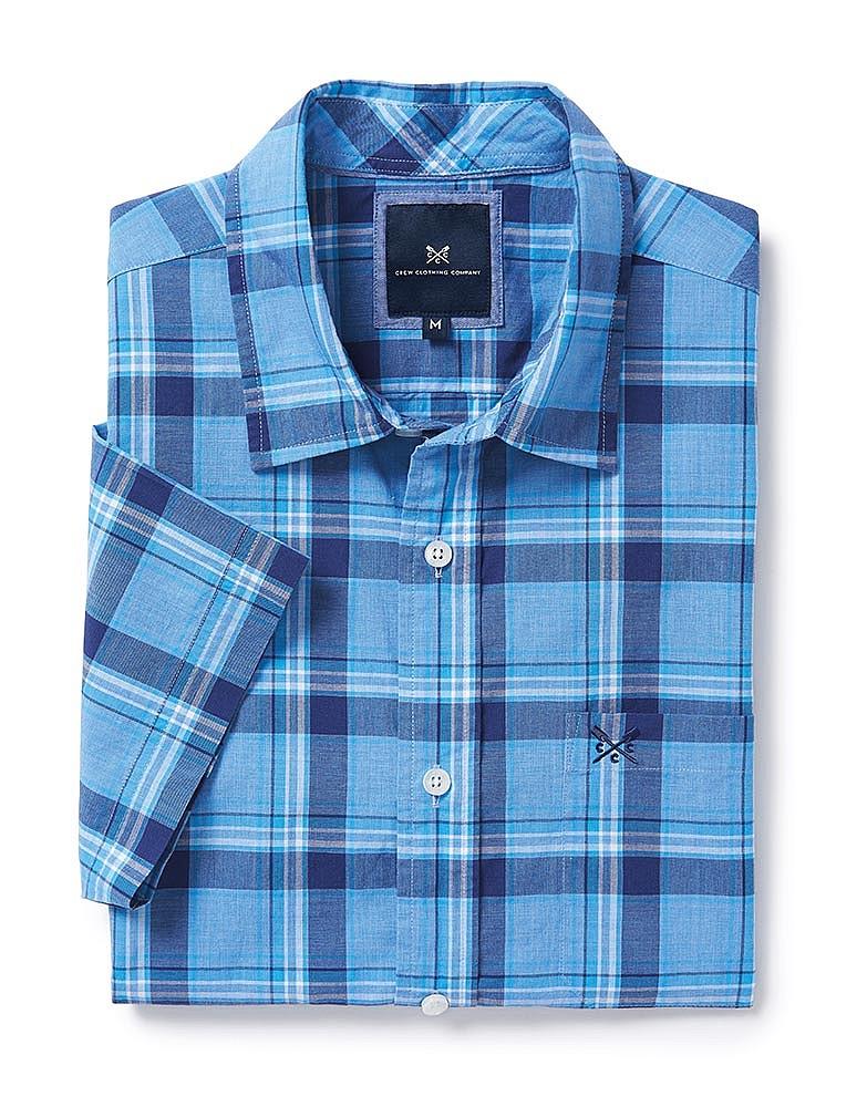 80ea4354e79 Men s Hunstanton Short Sleeve Check Shirt in Bright Navy Sky from ...