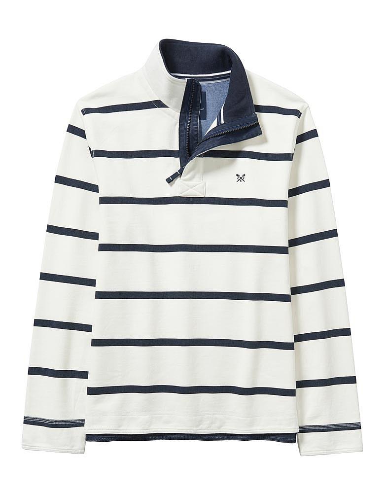 Padstow Pique Sweatshirt In White/Navy