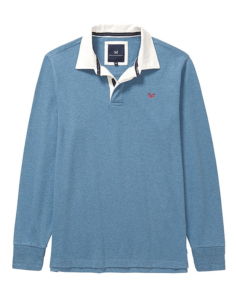98884b45108 Men S Crew Long Sleeve Rugby Shirt In Heritage Blue Marl From