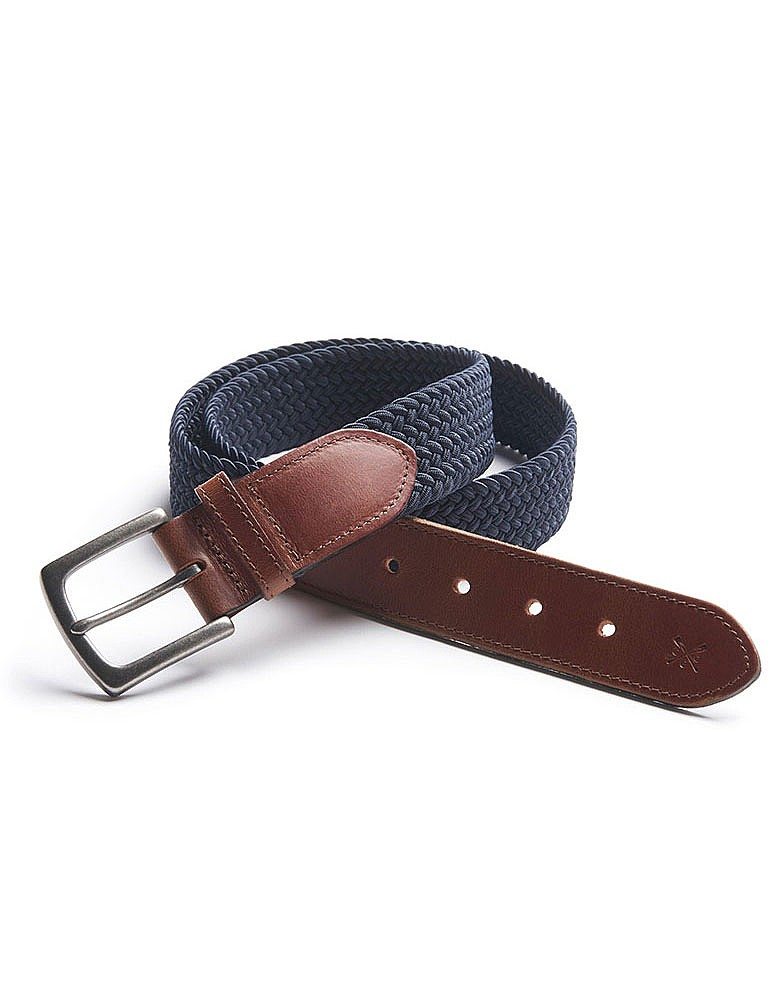 Men's Woven Elastic Belt in Navy from Crew Clothing Company