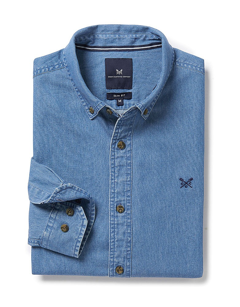 91ef6ab8138 Men s Darwell Slim Fit Denim Shirt in Denim Blue from Crew Clothing ...
