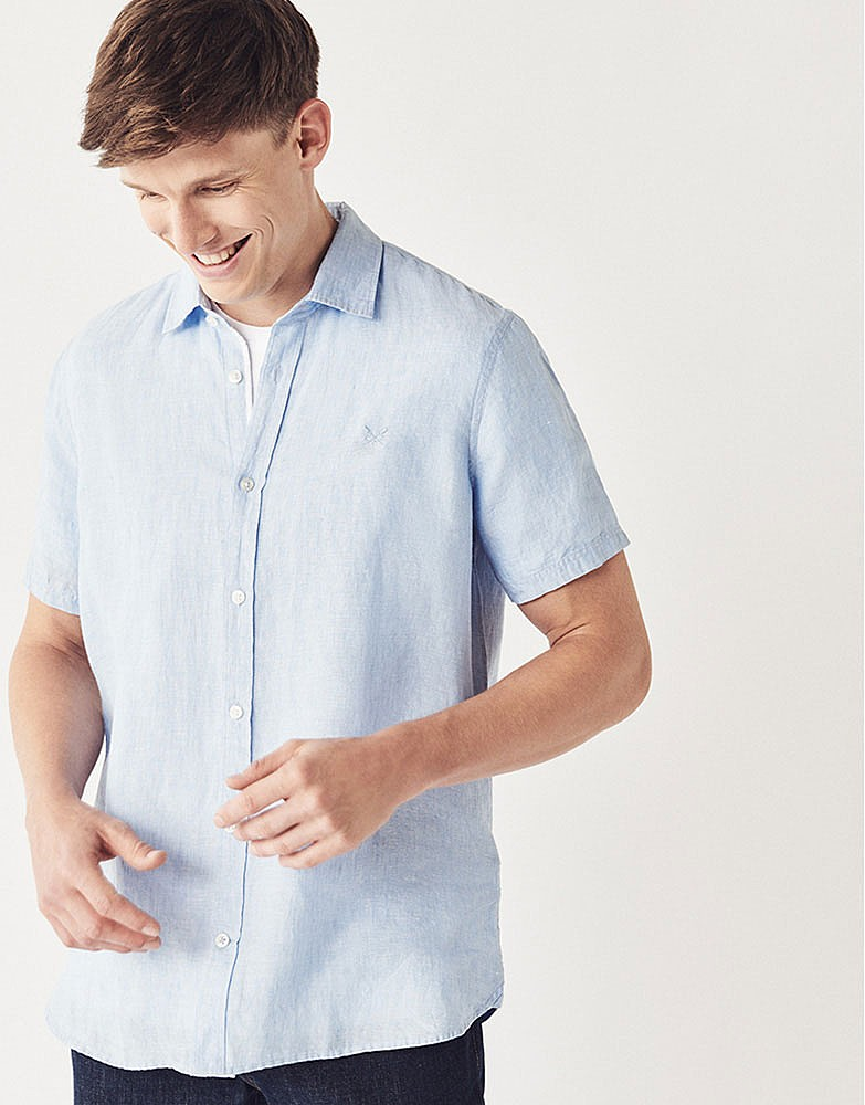 4e38fcd5978 Men s SHORT SLEEVE LINEN SHIRT from Crew Clothing Company