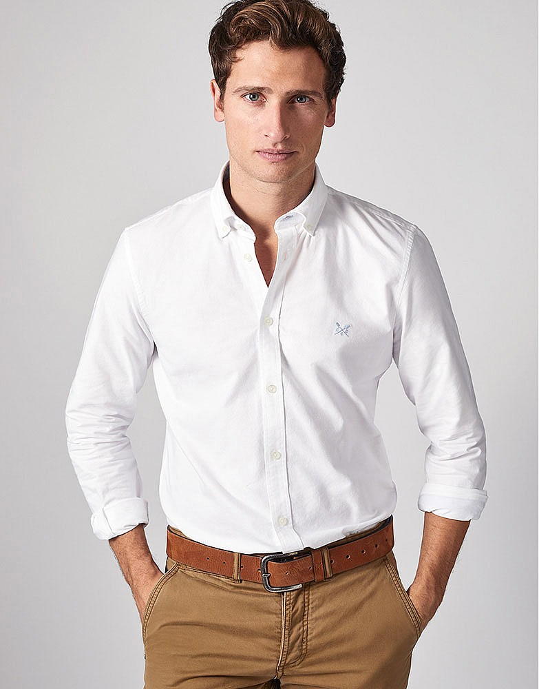 Men S Crew Slim Fit Oxford Shirt In White From Crew Clothing Company