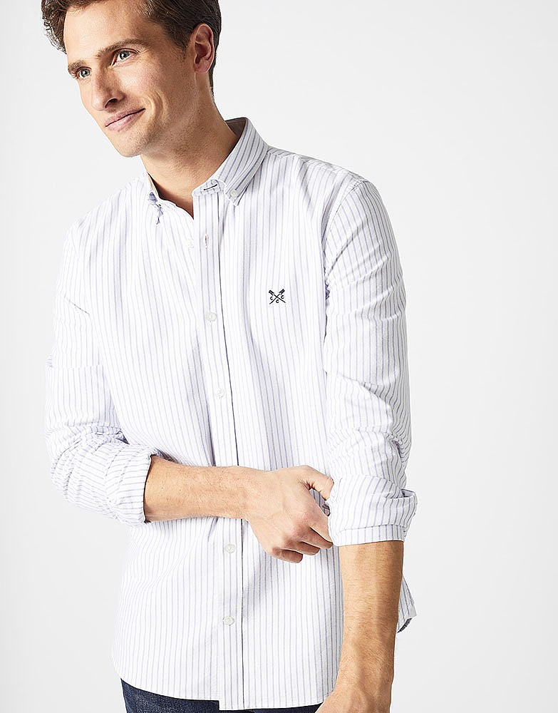 Men S Crew Slim Fit Stripe Oxford Shirt From Crew Clothing