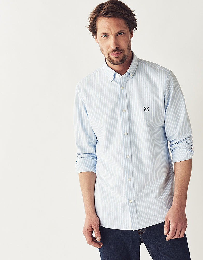 Men S Oxford Slim Fit Shirt In Sky Stripe From Crew Clothing Company