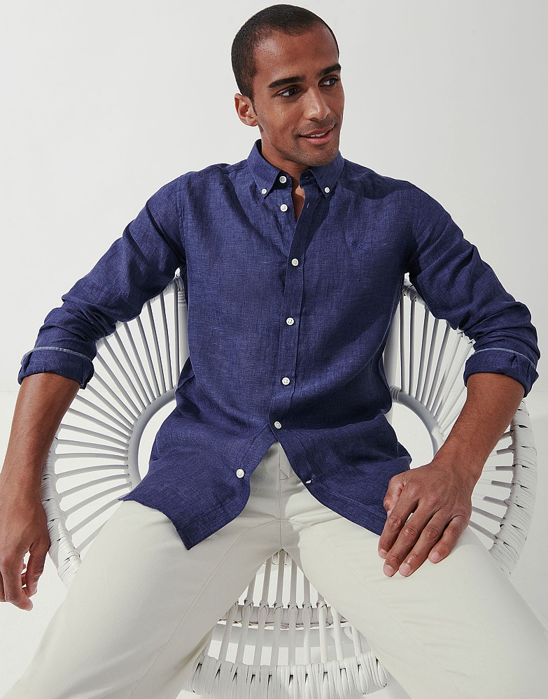 Long Sleeve Slim Fit Linen Shirt