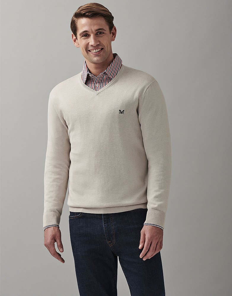 Cotton Silk V Neck Jumper