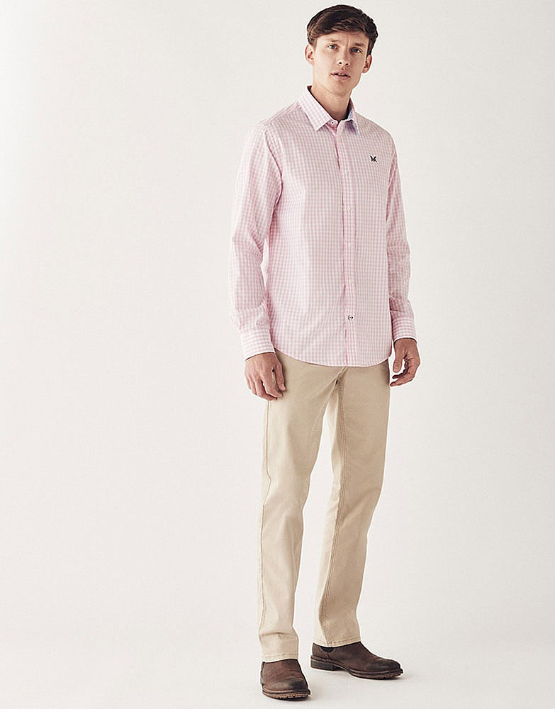 Men 39 s crew classic fit gingham shirt in classic pink from for Pink gingham shirt ladies