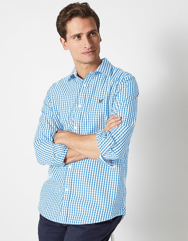 a8cf5af9392 Men s Crew Classic Gingham Shirt in Sky from Crew Clothing