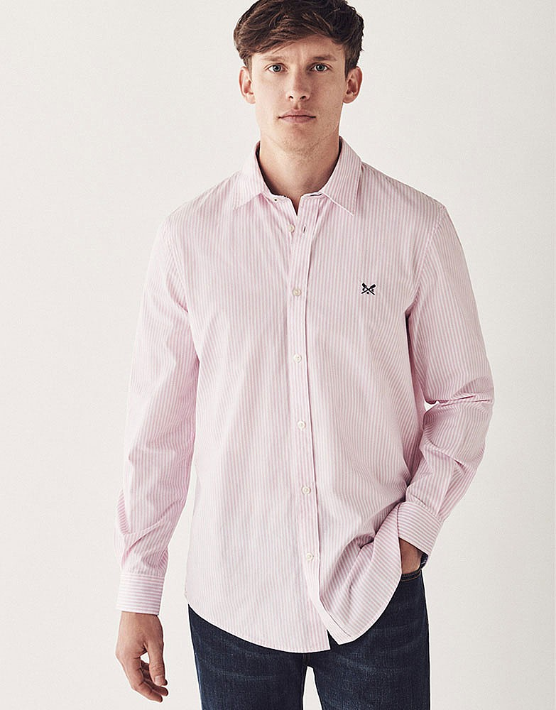 161c56ebcf77 Men s Crew Classic Fit Stripe Shirt in Classic Pink from Crew Clothing