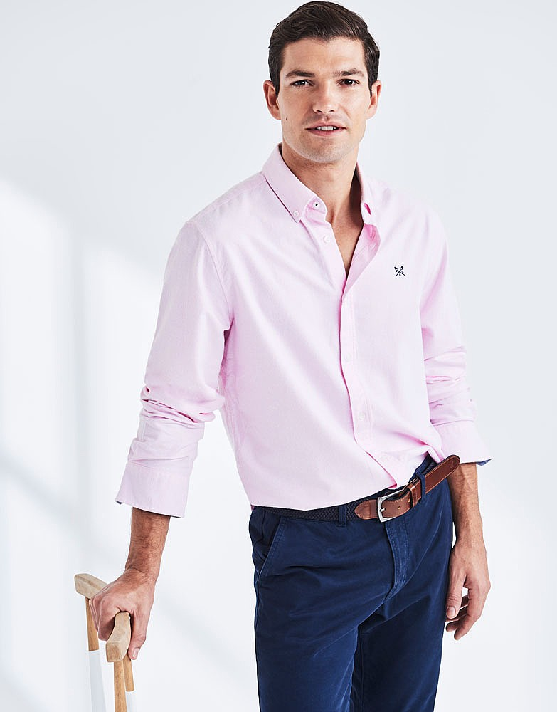 Men's Oxford Slim Fit Shirt in Classic Pink from Crew Clothing Company