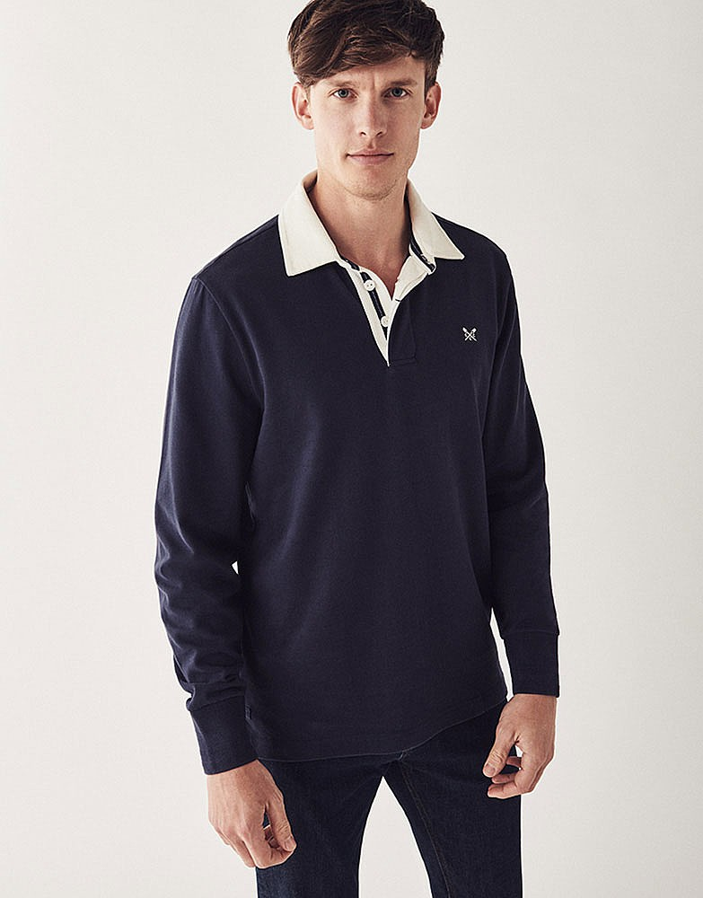 men 39 s crew long sleeve rugby shirt in navy from crew clothing