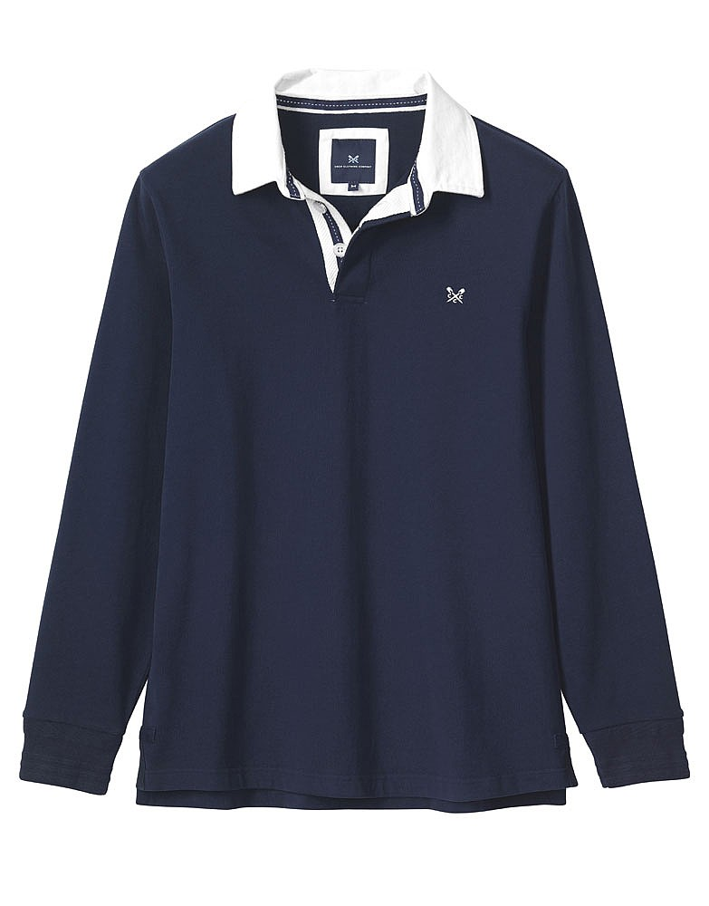 3fc545c6c7b Men's Crew Long Sleeve Rugby Shirt in Navy from Crew Clothing