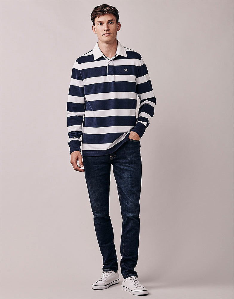 ebfe217ccbc Men's Crew Long Sleeve Rugby in Navy/White from Crew Clothing Company