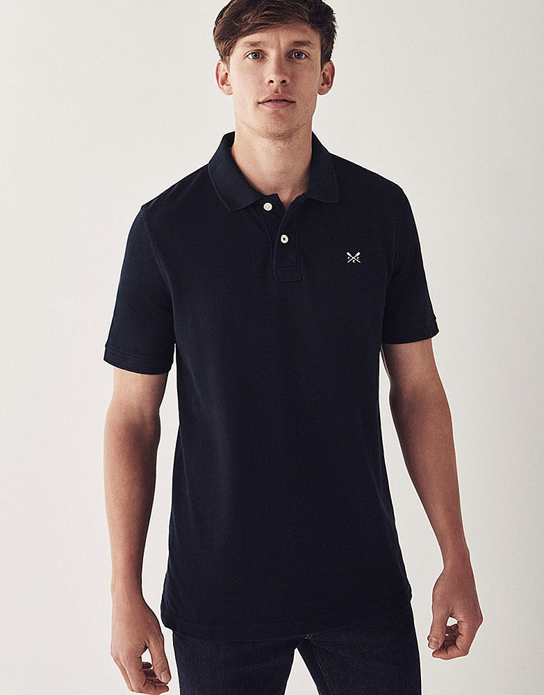 Men 39 s classic pique polo in navy from crew clothing company for The tour jacket polo shirt