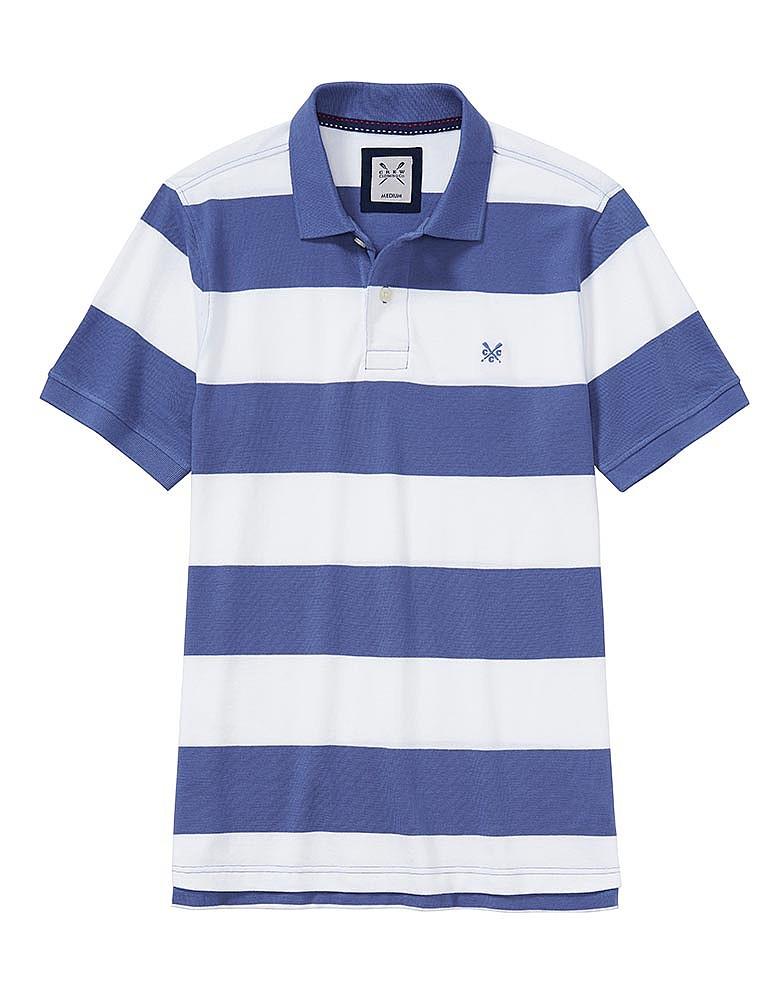 Men S Crew Stripe Polo Shirt In Denim White From Crew Clothing