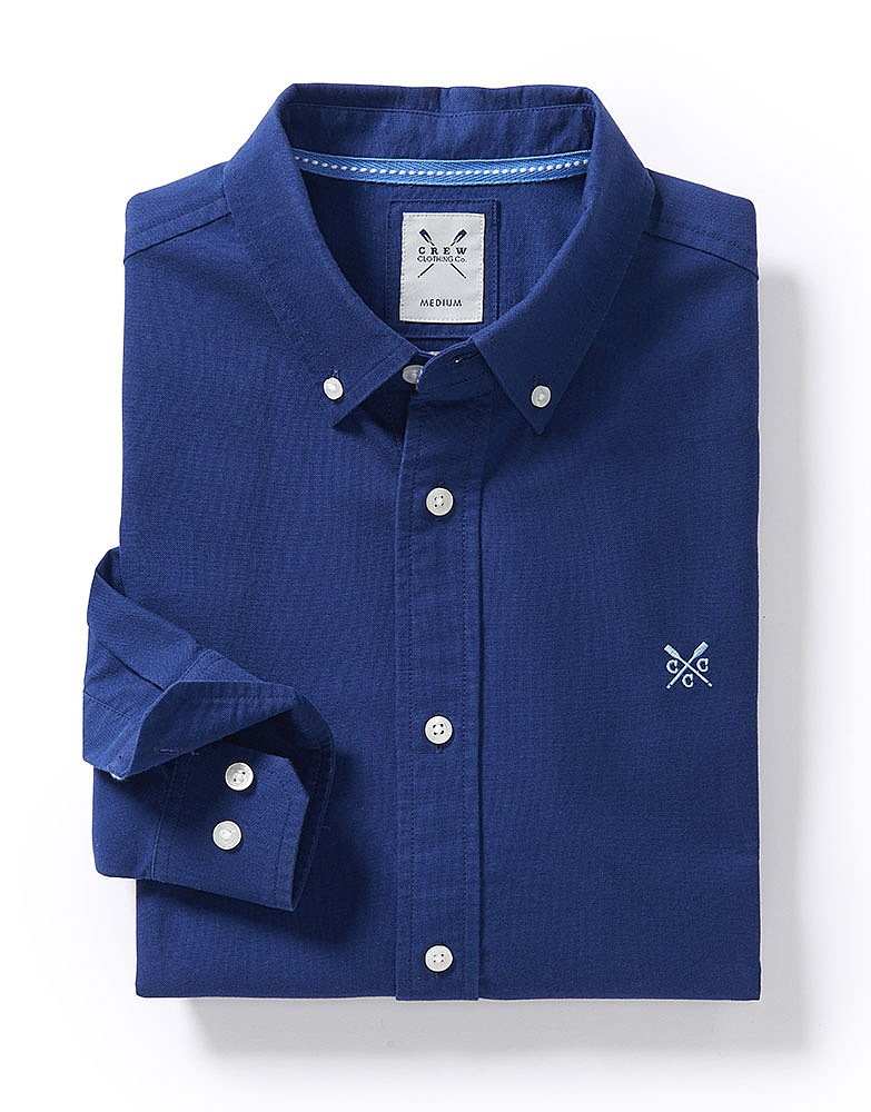 Men S Oxford Slim Fit Shirt In Navy From Crew Clothing